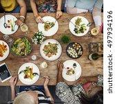 women communication dinner... | Shutterstock . vector #497934196