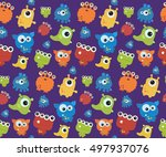 seamless pattern with monsters. ... | Shutterstock .eps vector #497937076