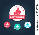 best seller thumbs up labels | Shutterstock .eps vector #497939746