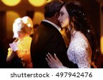 tender hugs of delightful bride ... | Shutterstock . vector #497942476