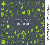flat eco background concept.... | Shutterstock .eps vector #497945632