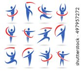 abstract people icons collection | Shutterstock .eps vector #497957272