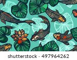 seamless pattern with koi carp... | Shutterstock .eps vector #497964262