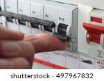 switching an mcb  micro circuit ... | Shutterstock . vector #497967832