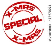 red x mas special stamp | Shutterstock .eps vector #497970016