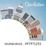 charleston skyline with gray... | Shutterstock .eps vector #497971252