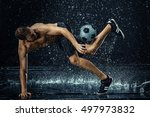 water drops around football... | Shutterstock . vector #497973832