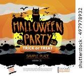 vector happy halloween... | Shutterstock .eps vector #497978932