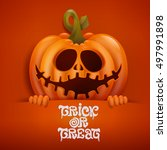 happy halloween card with scary ... | Shutterstock .eps vector #497991898