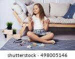 the little girl with long hair... | Shutterstock . vector #498005146