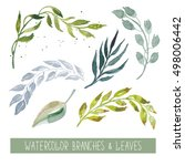 handpainted watercolor leaves ... | Shutterstock . vector #498006442
