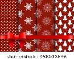 set christmas red seamless... | Shutterstock . vector #498013846