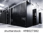 room with rows of server... | Shutterstock . vector #498027382