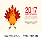 colorful rooster on ornamental... | Shutterstock .eps vector #498028648