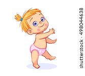 happy baby girl in pink diaper... | Shutterstock .eps vector #498044638