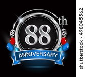 88th anniversary logo with... | Shutterstock .eps vector #498045562