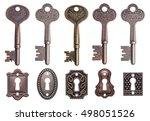 set of old keys and keyholes... | Shutterstock . vector #498051526