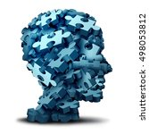 Stock photo psychology puzzle concept as a a group of d illustration jigsaw pieces shaped as a human head as a 498053812