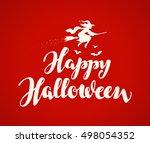 happy halloween banner. holiday ... | Shutterstock .eps vector #498054352