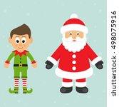 Cartoon Christmas Elf And Sant...