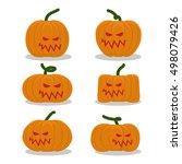 scary pumpkins for halloween... | Shutterstock .eps vector #498079426