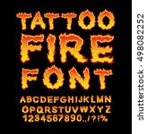 tattoo fire font. flame... | Shutterstock .eps vector #498082252