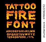tattoo fire font. flame... | Shutterstock .eps vector #498082252