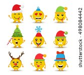 set of holiday smiley faces ... | Shutterstock . vector #498084442