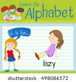 flashcard letter l is for lazy... | Shutterstock .eps vector #498086572