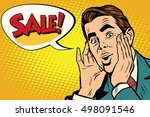 wow man sale pop art... | Shutterstock .eps vector #498091546