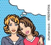 married lesbian couple smile...   Shutterstock . vector #498094546