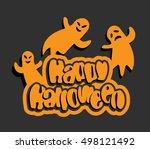 happy halloween text with... | Shutterstock .eps vector #498121492