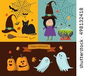 set of halloween ribbons and... | Shutterstock .eps vector #498132418