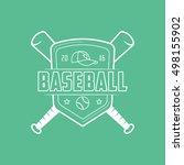 baseball emblem line icon on... | Shutterstock .eps vector #498155902