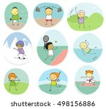 set of naive illustration of... | Shutterstock . vector #498156886