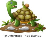 cartoon funny turtle with snail | Shutterstock .eps vector #498160432