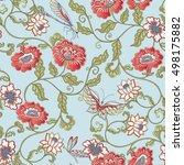 vector seamless vintage floral... | Shutterstock .eps vector #498175882