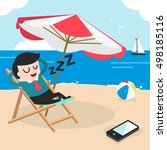 executive relaxing on the beach ... | Shutterstock .eps vector #498185116