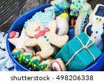 christmas gingerbread cookies... | Shutterstock . vector #498206338