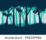 deciduous forest landscape with ... | Shutterstock .eps vector #498209986