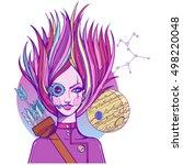 girl symbolizes the zodiac sign ... | Shutterstock .eps vector #498220048