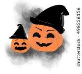 halloween pumpkin in witch hat... | Shutterstock . vector #498226156