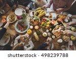 people celebrating thanksgiving ... | Shutterstock . vector #498239788