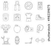 fitness icons set. outline...   Shutterstock .eps vector #498239875