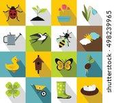 spring icons set. flat... | Shutterstock .eps vector #498239965