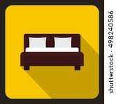 brown double bed icon. flat... | Shutterstock .eps vector #498240586