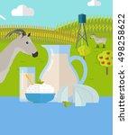 goat milk. milk farm concept... | Shutterstock . vector #498258622