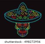 mexican skull with sombrero ... | Shutterstock .eps vector #498272956