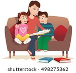 mother reading to kids. | Shutterstock .eps vector #498275362