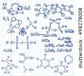 chemical formula on notebook... | Shutterstock .eps vector #498278008